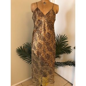 Vintage Animal Style Print Slip Dress